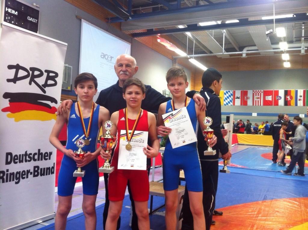 DM B-Jugend 13.-15.03.15 E. Aliev, D. Nakaev, A. Kromm Trainer Oleg Dubov